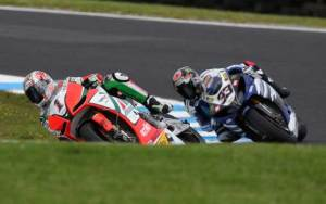 Biaggi managed to hold of Melandri for second after a race long battle