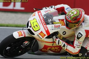Alvaro Bautista closeup Valencia MotoGP Race 2012