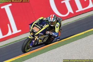 Bradley Smith cornering Valencia Moto2 Qualifying 2012