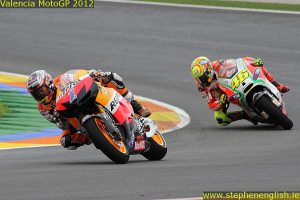 Casey Stoner Valentino Rossi Valencia MotoGP Race 2012