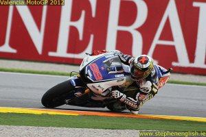 Jorge Lorenzo cornering Valencia MotoGP Race 2012