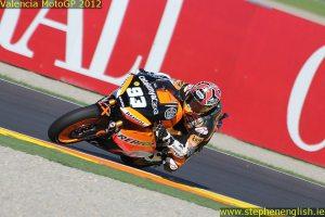 Marc Marquez cornering Valencia Moto2 Qualifying 2012