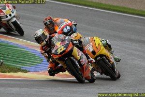 Sandro Cortese Efren Vazquez Miguel Oliveira Valencia Moto3 Race 2012