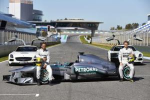 Lewis Hamilton Nico Rosberg Mercedes launch 2013