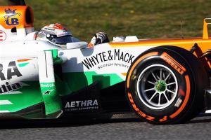 Adrian Sutil closeup Barcelona test 2013