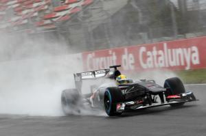 Esteban Gutierrez on track Barcelona test 2013