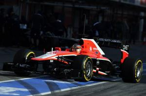 Jules Bianchi entering pits Barcelona Test 3 Day 4 2013