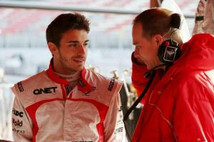 Jules Bianchi garage Barcelona Test 3 Day 4 2013