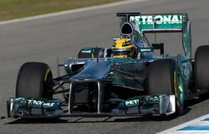 Lewis Hamilton on trackJerez Test2013