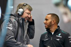 Lewis Hamilton Ross Brawn Jerez test 2013