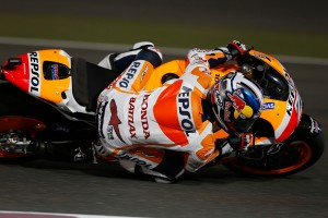 Dani Pedrosa cornering Qatar MotoGP Race 2013