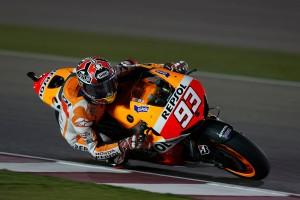 Marc Marquez cornering Qatar MotoGP Race 2013