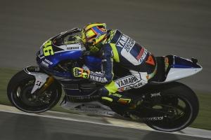 Valentino Rossi accelerating Qatar MotoGP Race 2013